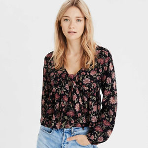 AE Boho Tie Neck Floral Long Sleeve Top NWT